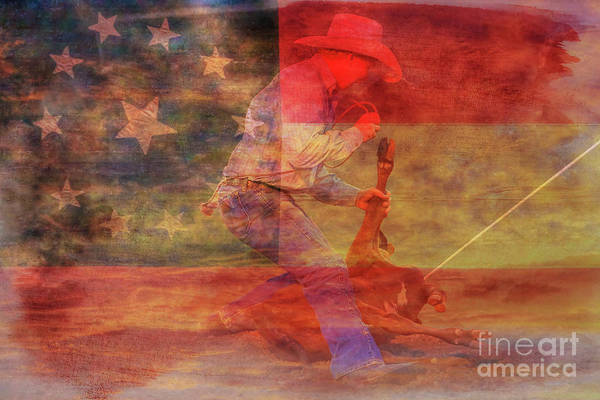 Bucking Bronco Digital Art - Rodeo Calf Roper Over Flag by Randy Steele