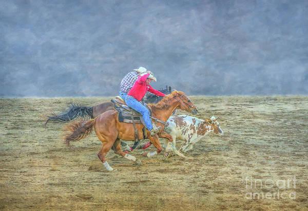 Bucking Bronco Digital Art - Rodeo Calf Roping Three by Randy Steele