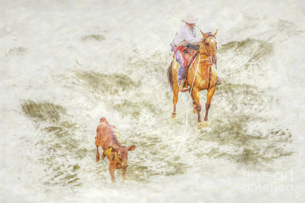 Bucking Bronco Digital Art - Rodeo Calf Roping Two by Randy Steele