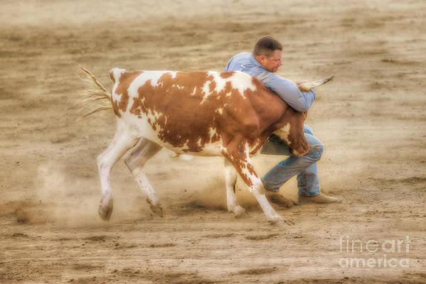 Bucking Bronco Digital Art - Rodeo Cowboy And Calf by Randy Steele