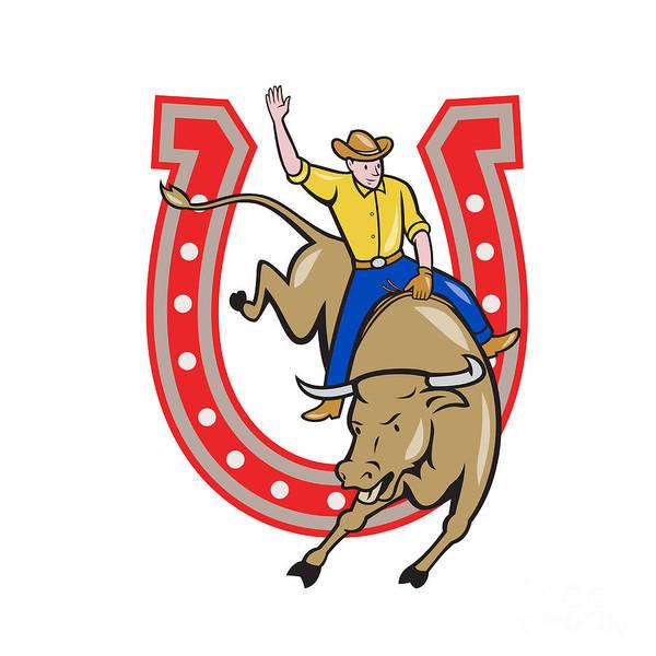 Horseshoe Digital Art - Rodeo Cowboy Bull Riding Horseshoe Cartoon by Aloysius Patrimonio