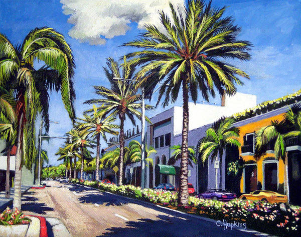 Wall Art - Painting - Rodeo Drive - Beverly Hills, California by Christine Hopkins
