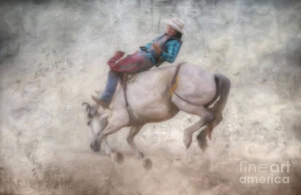 Bucking Bronco Digital Art - Rodeo Event Bronco Riding by Randy Steele