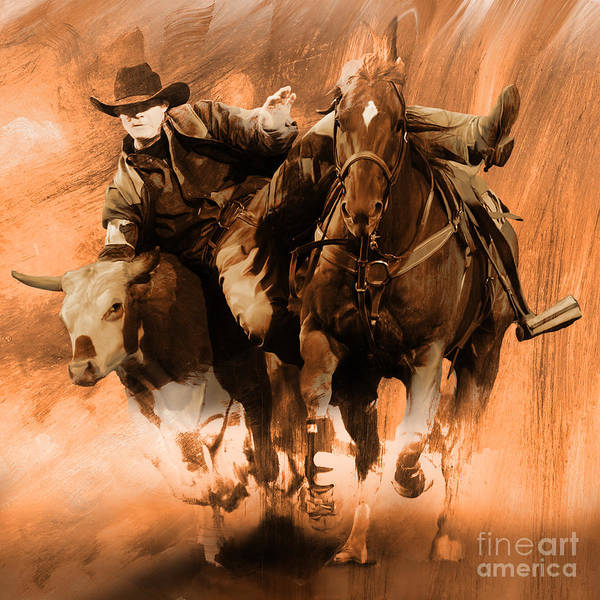 Roping Painting - Rodeo Mmn by Gull G