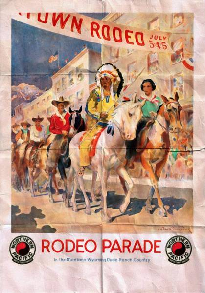 Dude Mixed Media - Rodeo Parade - Vintage Poster Folded by Vintage Advertising Posters