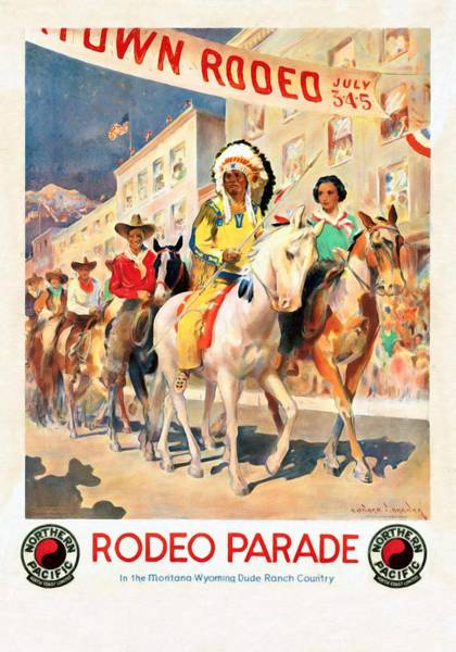 Dude Mixed Media - Rodeo Parade - Vintage Poster Restored by Vintage Advertising Posters