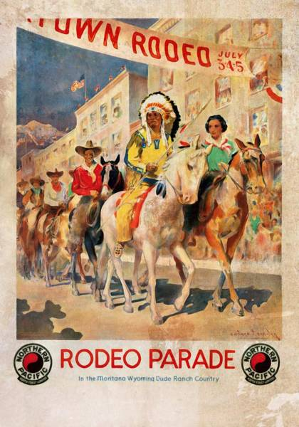 Dude Mixed Media - Rodeo Parade - Vintage Poster Vintagelized by Vintage Advertising Posters