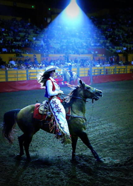 Photograph - Rodeo Queen In The Spotlight by John King