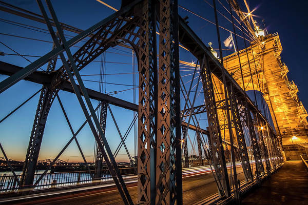 Photograph - Roebling Suspension Bridge Dusk Scene by Sven Brogren