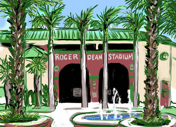 Roger Dean Wall Art - Painting - Roger Dean Stadium by Jean Pacheco Ravinski