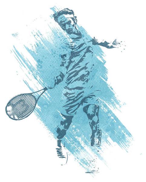 Wall Art - Mixed Media - Roger Federer Tennis Water Color Art 2 by Joe Hamilton