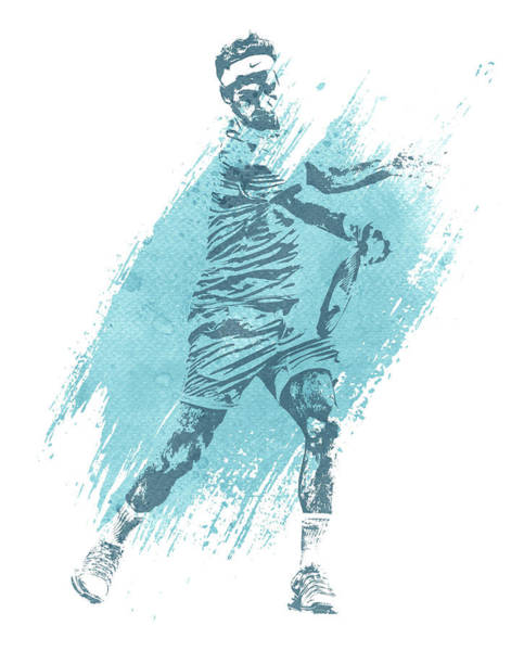 Championship Mixed Media - Roger Federer Tennis Water Color Art 4 by Joe Hamilton
