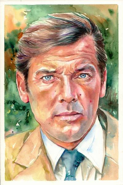 Xmas Painting - Roger Moore Portrait 007 James Bond by Suzann Sines