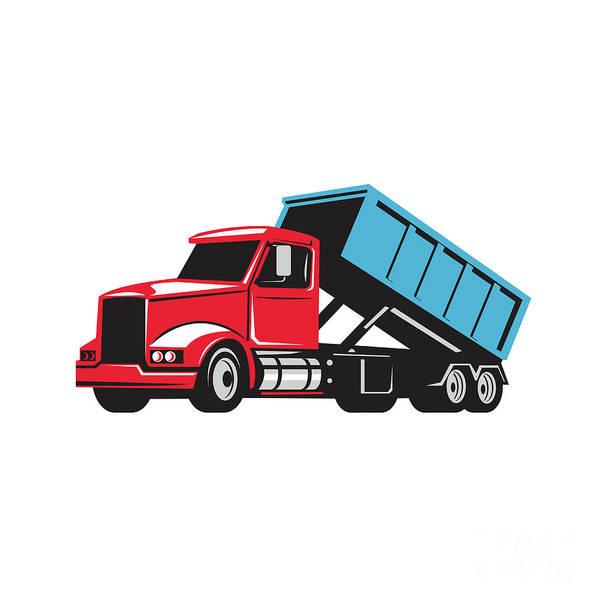 Dump Truck Digital Art - Roll-off Truck Side Up Retro by Aloysius Patrimonio