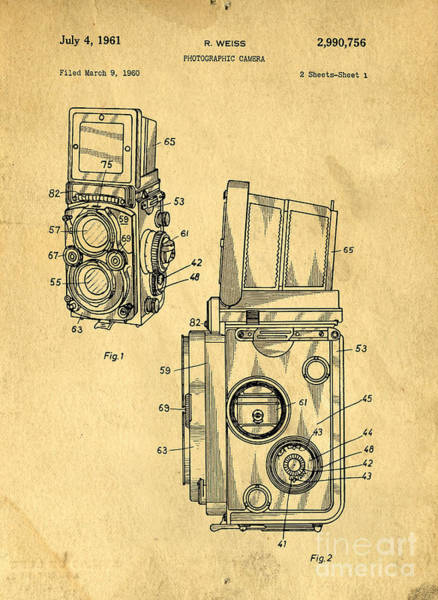 Digital Art - Rolleiflex Medium Format Twin Lens Reflex Tlr Patent by Edward Fielding