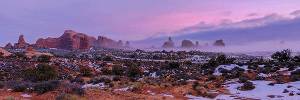 Moab Photograph - Rolling Mist Through Arches by Chad Dutson