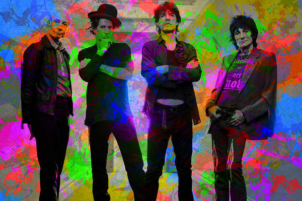 Wall Art - Mixed Media - Rolling Stones Band Portrait Paint Splatters Pop Art by Design Turnpike