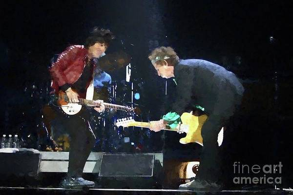 Rolling Stones Painting - Rolling Stones Ron Wood Keith Richards Painting by Concert Photos