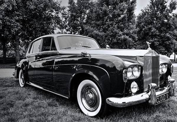 Photograph - Rolls Royce Silver Cloud IIi Black And White by Carol Montoya