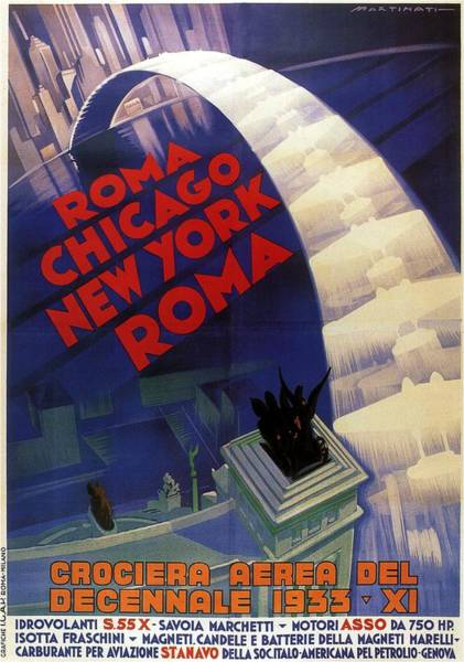 Vintage Chicago Painting - Roma, Chicago, New York - Vintage Illustrated Poster by Studio Grafiikka