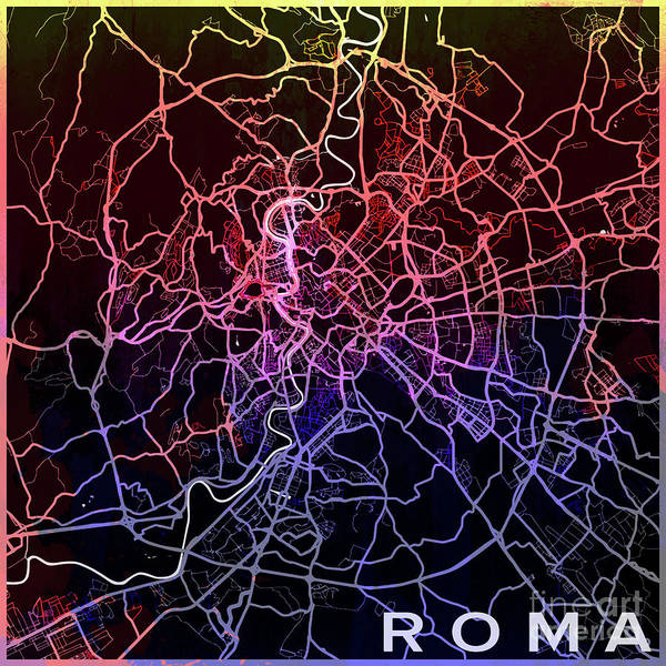 Europe Map Digital Art - Roma Watercolor by Delphimages Photo Creations