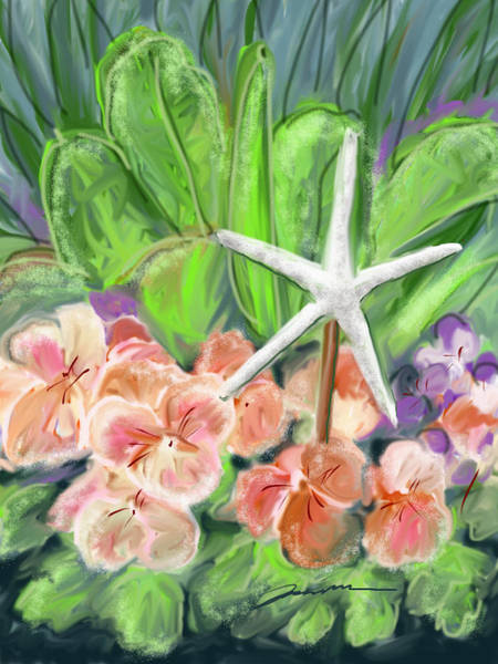 Painting - Romaine Lettuce With Starfish by Jean Pacheco Ravinski