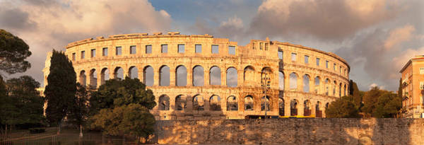 Colonnade Photograph - Roman Amphitheater At Sunset, Pula by Panoramic Images