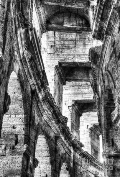 Photograph - Roman Arena At Arles 3 Bw by Mel Steinhauer