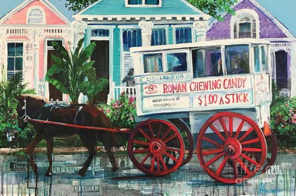 Painting - Roman Candy Wagon Off To Work by Denise Morencie