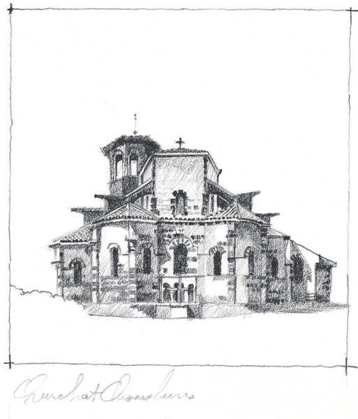 Drawing - Roman Church At Chamalieres by James Faecke