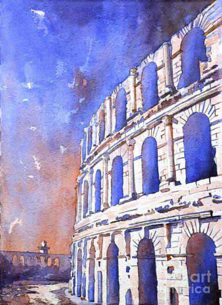 World Heritage Site Painting - Roman Coliseum- Africa by Ryan Fox