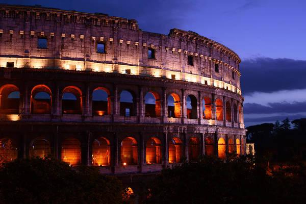 Coliseum Photograph - Roman Colosseum At Night by John Warren