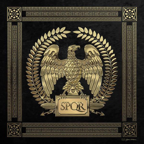 Digital Art - Roman Empire - Gold Imperial Eagle Over Black Velvet by Serge Averbukh