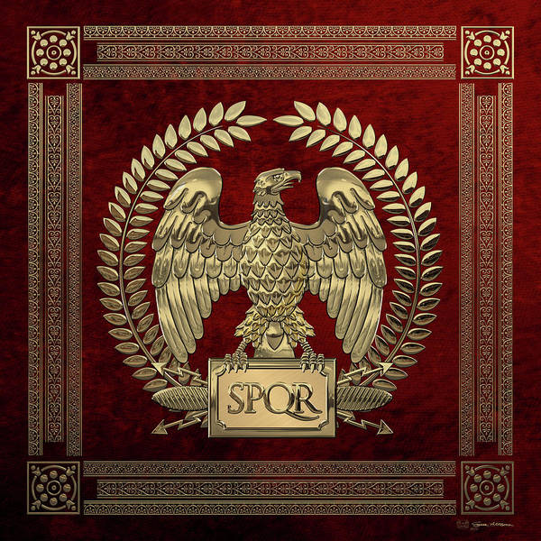Digital Art - Roman Empire - Gold Imperial Eagle Over Red Velvet by Serge Averbukh