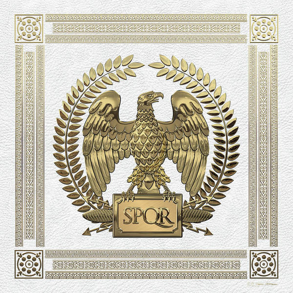 Digital Art - Roman Empire - Gold Imperial Eagle Over White Leather by Serge Averbukh