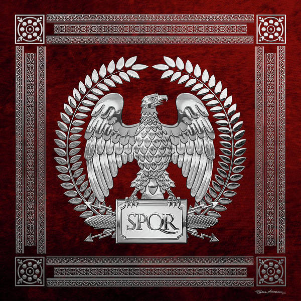 Digital Art - Roman Empire - Silver Imperial Eagle Over Red Velvet by Serge Averbukh