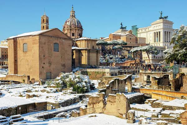 Photograph - Roman Forum Under The Snow by Fabrizio Troiani