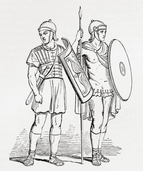Roman Soldier Drawing - Roman Infantry Soldiers, After Figures by Vintage Design Pics
