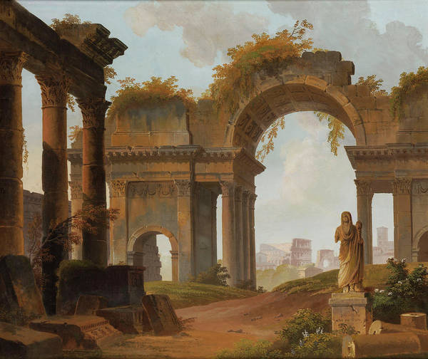 Collapse Painting - Roman Ruins Capri by Alexandre Jean Dubois-Drahonet