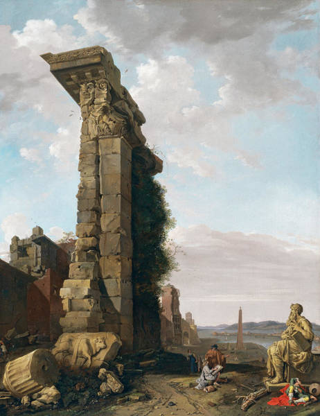 Collapse Painting - Roman Ruins Port Sculptures by Bartholomeus Breenbergh