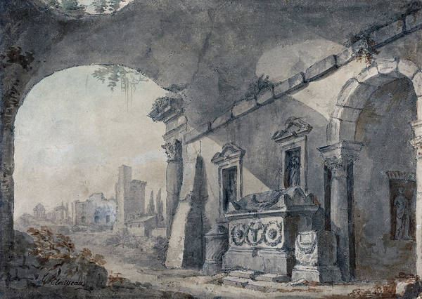 Painting -  Roman Ruins With A Sepulchre by Charles Louis Clerisseau
