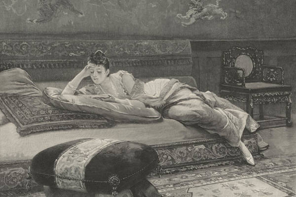 Library Drawing - Romance And Repose by English School