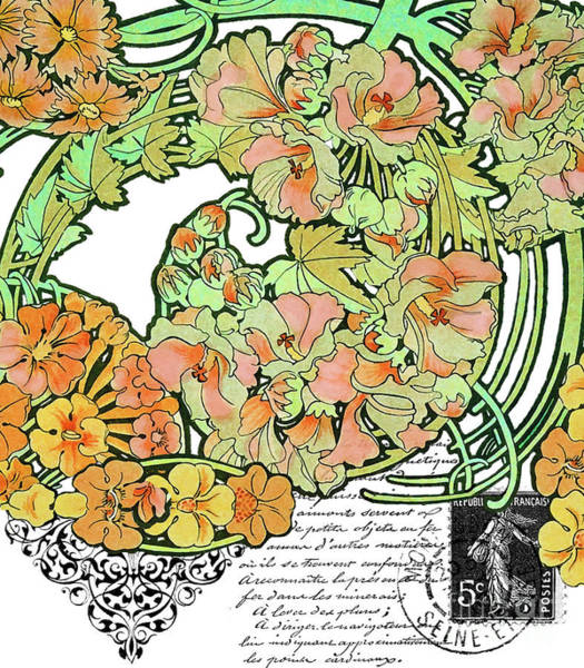 Wall Art - Painting - Romance In Paris, Art Nouveau Floral Nostalgia by Tina Lavoie