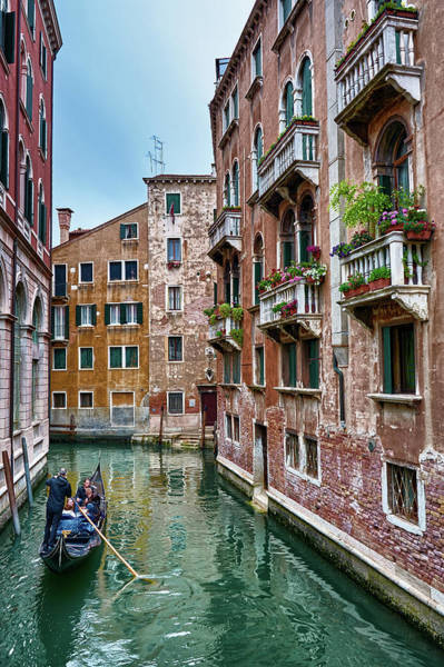 Photograph - Gondola Ride Surrounded By Vintage Buildings In Venice, Italy by Fine Art Photography Prints By Eduardo Accorinti