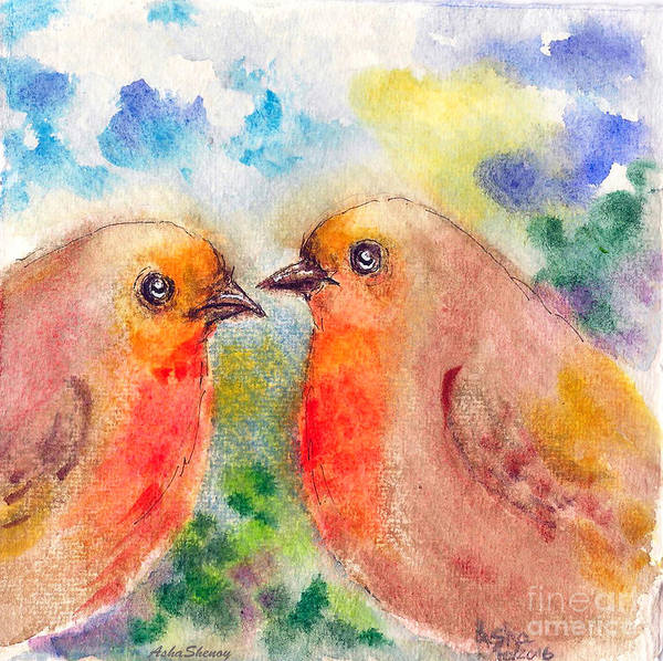 Painting - Romance Of The Robins by Asha Sudhaker Shenoy