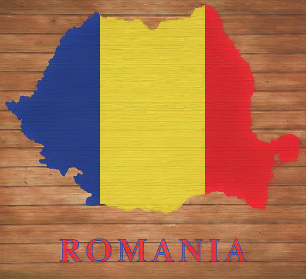 European Vacation Mixed Media - Romania Rustic Map On Wood by Dan Sproul
