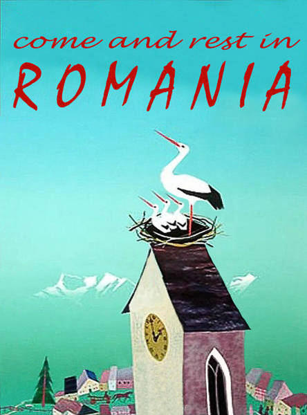 Stork Painting - Romania, Stork On Village Watch Tower by Long Shot