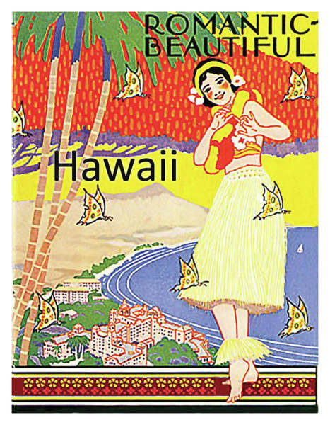 Hula Wall Art - Painting - Romantic, Beautiful Hawaii, Vintage Travel Poster by Long Shot