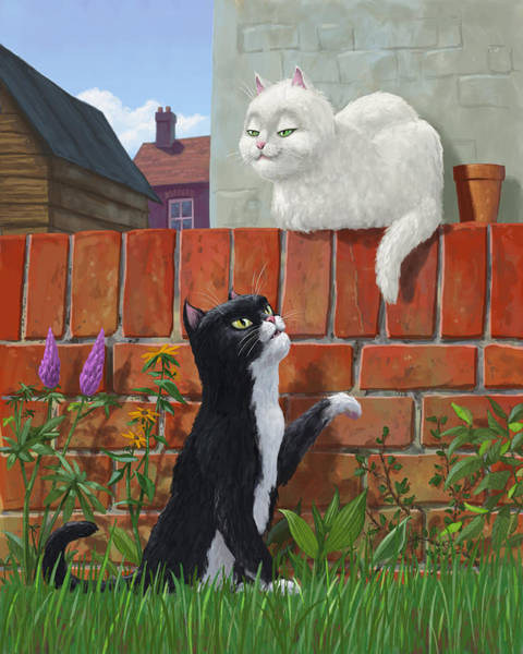 Painting - Romantic Cute Cats In Garden by Martin Davey