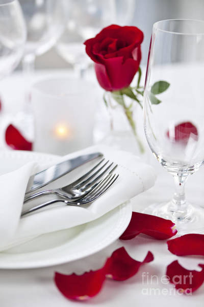 Petal Wall Art - Photograph - Romantic Dinner Setting With Rose Petals by Elena Elisseeva